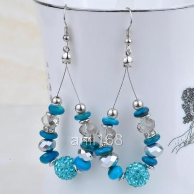 New Wholesale Exquisite Sexy Crystal Blue Bead Dangle Earrings 74mm E A3   eBay