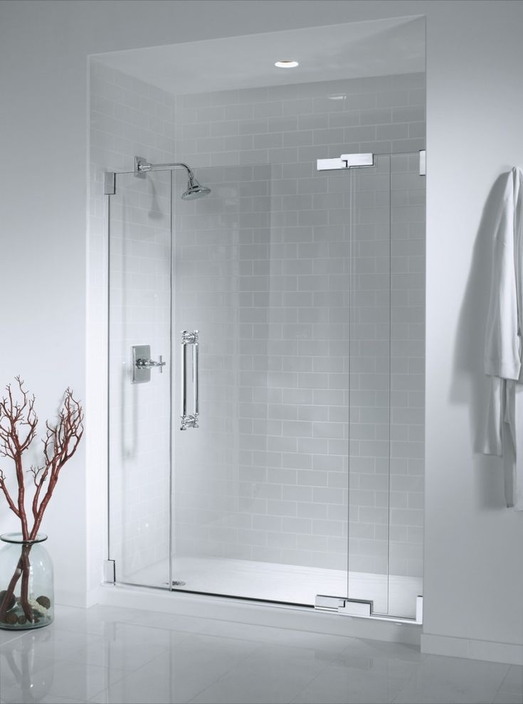 Wonderful Open Shower Bathroom Design With Glass Cabinet : Open Shower Bathroom Design With White Wall And Cloth Hanger And Ceramic Floor