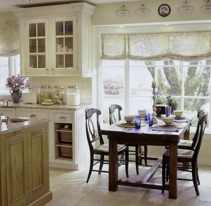 French Country Kitchen Tables With Wall Tile
