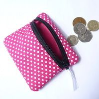 Pink spotty coin purse