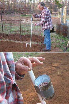 2. Build a hand-held seeder to let you stand up to plant beans and corn. - Top 20 Low-Cost DIY Gardening Projects Made With PVC Pipes