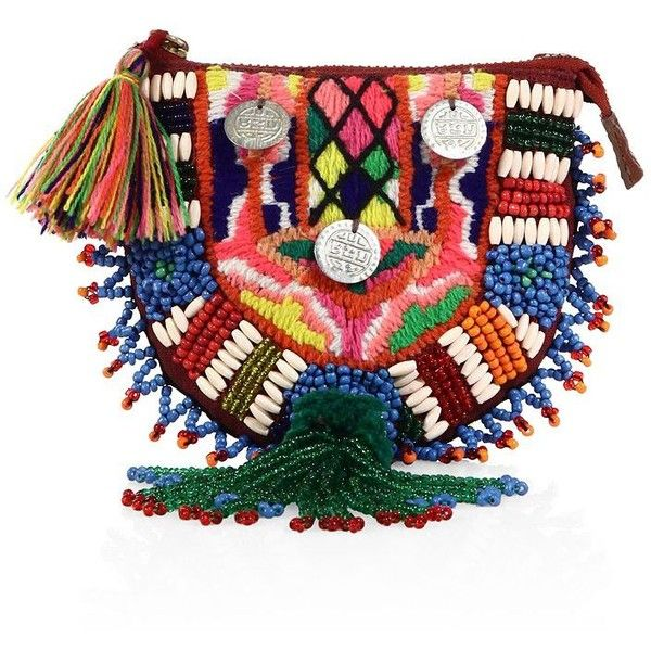 FIGUE Beaded Coin Purse (134 CAD) ❤ liked on Polyvore featuring bags, apparel & accessories, multi, multicolor bag, multi coloured bags, tassel bag, coin purse and coin pouch