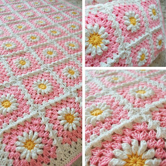 RESERVED Custom Order - Daisy Flower Pink Granny Square Patchwork Baby Granny Square Afghan Blanket Baby Shower Gift von tillietulip auf Etsy https://www.etsy.com/de/listing/100789680/reserved-custom-order-daisy-flower-pink