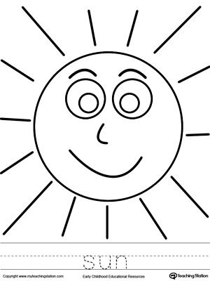sun coloring page and word tracing - Drawing And Colouring