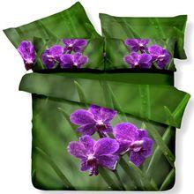 Fs-607 фиолетовые цветы зеленый постельного белья 3d картины маслом пуховое одеяло одеяло футляр наволочки для короля \ размер королева покрывало постельное белье(China (Mainland))