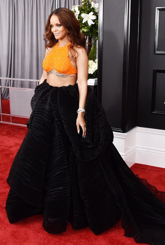 Rihanna attends The 59th GRAMMY Awards at STAPLES Center on February 12, 2017 in Los Angeles, California.