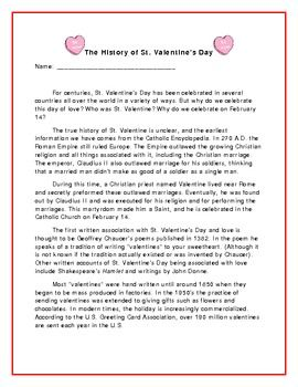 The History of St. Valentine's Day FREEBIE!!!!!!!!! (includes passage, cause/effect, and questions)