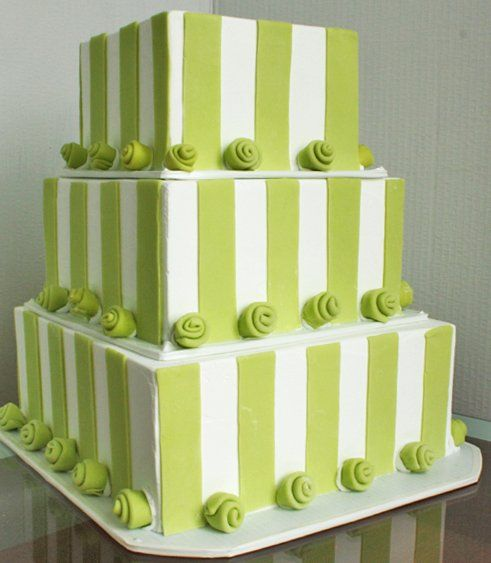 Green White Square Wedding Cakes Photos & Pictures - WeddingWire.com  Created by http://www.creamcakechicago.com/#!home/mainPage