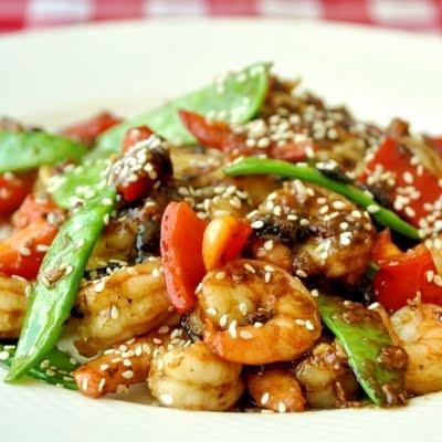 Shrimp stir-fry!!: Shrimp Stir Fries, Gingers Shrimp, Shrimp Stirfri, Black Beans, Food, Recipes, Spicy Blackbean, Weekday Dinners, Blackbean Gingers