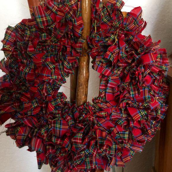 tartan fabric wreath