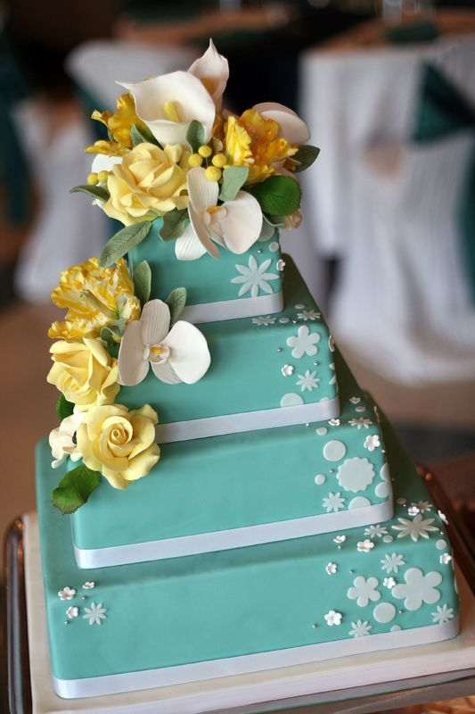 mod, square, stacked, turquoise with yellow flowers