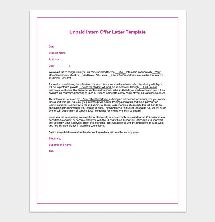 Unpaid Internship Offer Letter Sample Best Of Internship