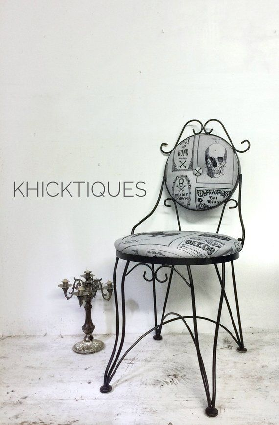 Halloween Vanity Stool, Gothic Style Accent Chair, Goth Home Decor