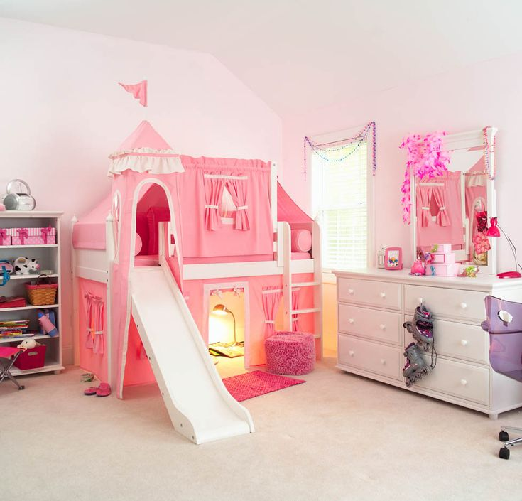 pink princess castle bed with slide by maxtrix kids 370 sweetretreatkids girlbed - Hausgemachte Etagenbetten Mit Rutsche