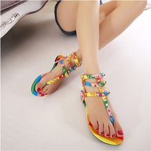 2015 New summer the new fashion rainbow flat flat thong with rivet Roman sandals for women