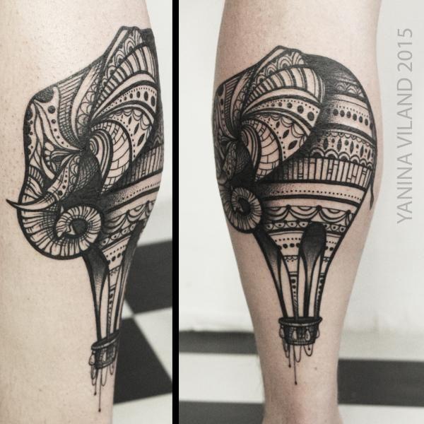 слоношар - татуировка фото и эскиз от тату-мастера Янина Виланд в стиле , ,