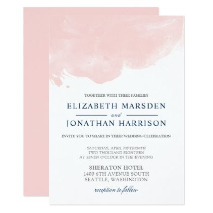 Blush and Navy Abstract Watercolor Modern Wedding Card - elegant wedding gifts diy accessories ideas