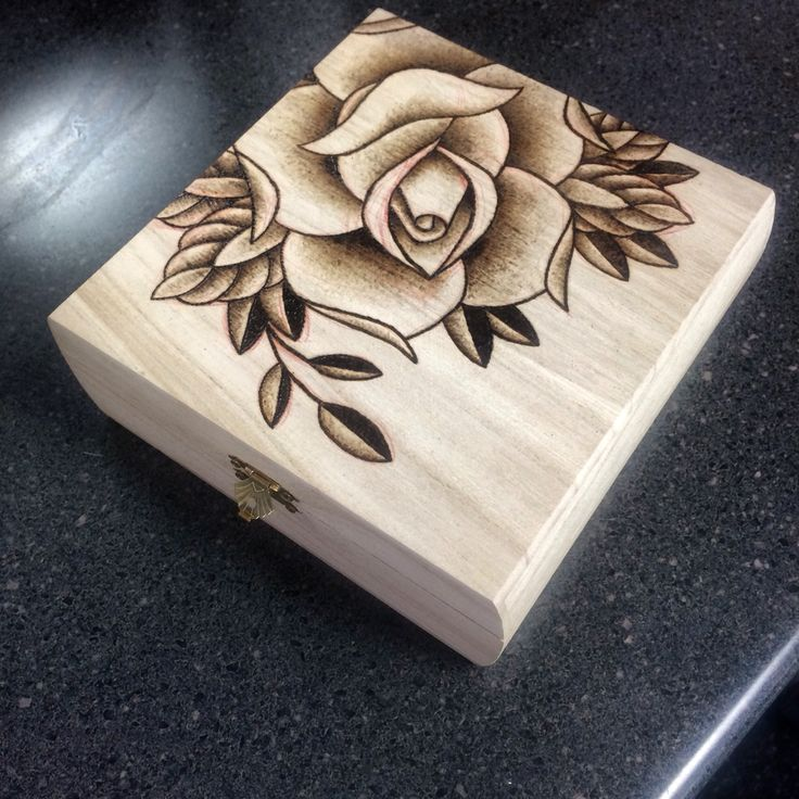 Rose pyrography project on cigar box by Stacie Becker