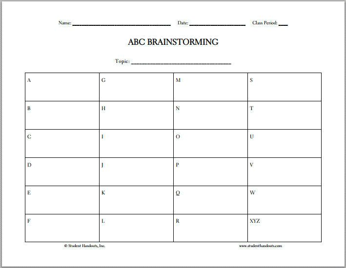free printable abc brainstorming worksheet teacher stuff pinterest worksheets graphic. Black Bedroom Furniture Sets. Home Design Ideas