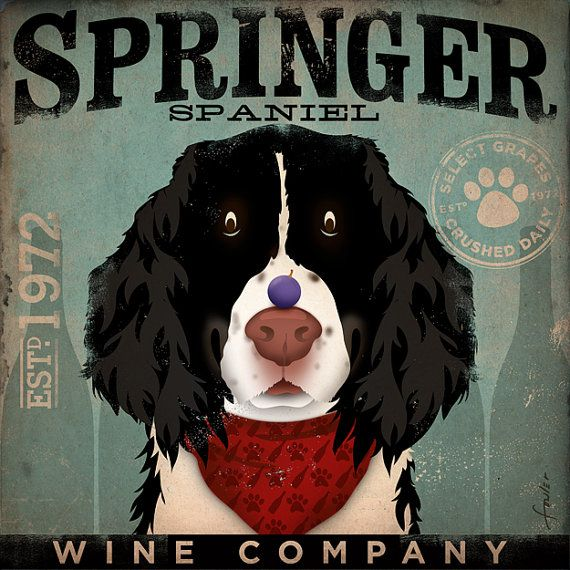 Springer Spaniel Wine Company original graphic art on canvas 12 x 12 by stephen fowler