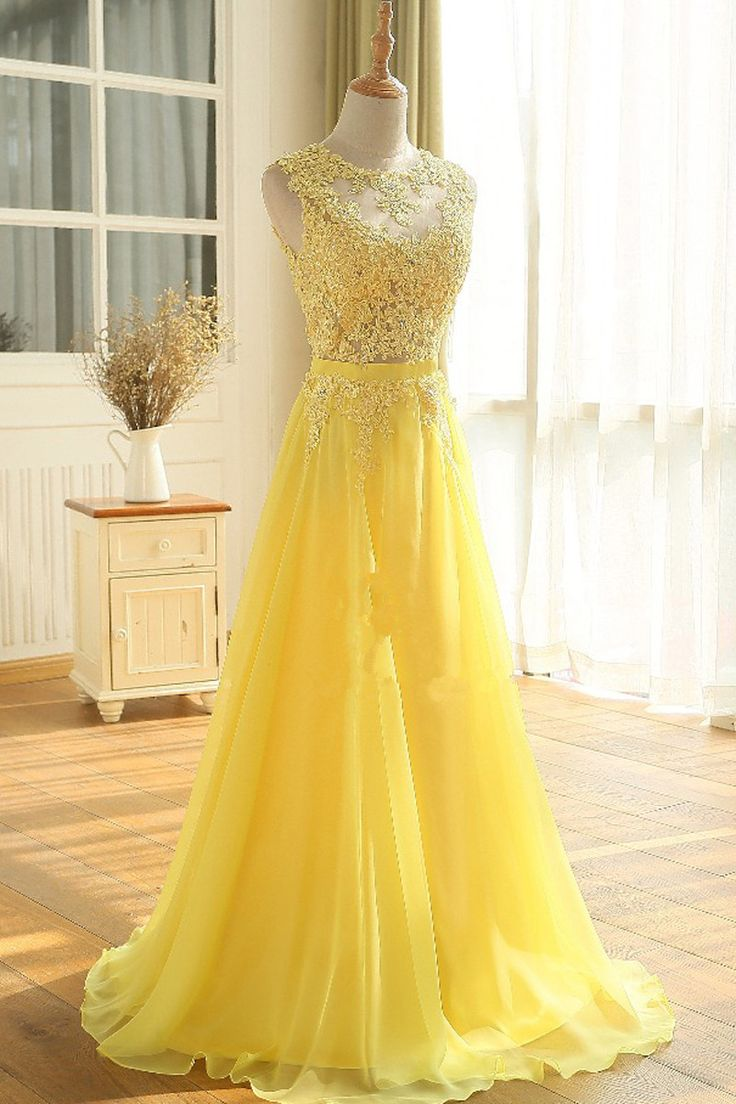 Yellow Floor Length A Line Beading Appliques Sashes Sleeveless Chiffon Long Prom Dress