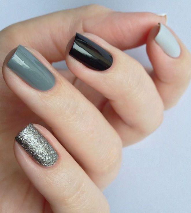 Gray And Black Nail Designs: Dark Gray And Black Nail Designs