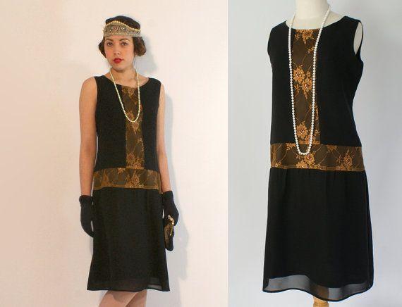 robe de robe great gatsby clapet noire et or roaring twenties robe robe de style art d co. Black Bedroom Furniture Sets. Home Design Ideas