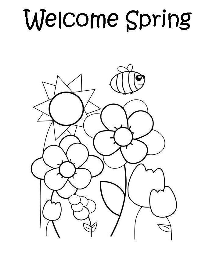 Welcome Spring Coloring Page Free