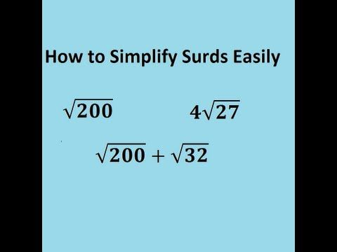 ▶ Simplifying surds easily - the trick for GCSE and A-level core 1 maths revision video: - YouTube