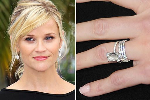 Reese Witherspoon wears a very unique 4-carat Ashoka-cut diamond on a pave diamond and platinum band. She married Jim Toth at her home in California in March 2011.