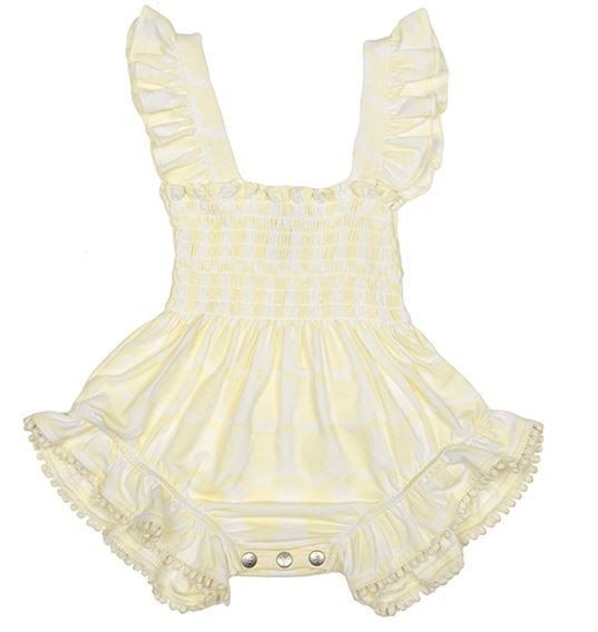 Shirred Playsuit - French Vanilla Yellow - https://www.bellaboobaby.com.au/products/organic-bamboo-shirred-playsuit-french-vanilla-yellow