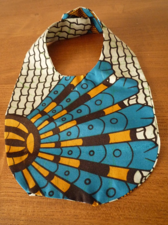 Unique African Dutch wax baby bib  Peacock by ThamesAndBean, £4.50