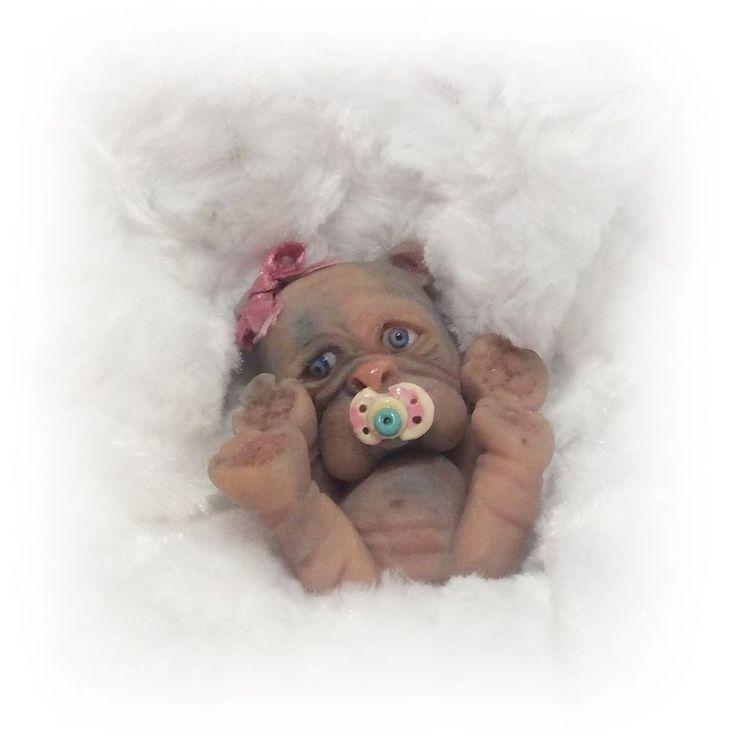 OOAK Polymer Clay Baby English Bulldog RESELL