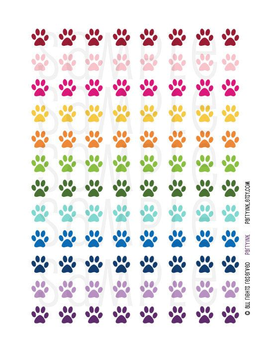 Printable Planner Stickers - Rainbow Puppy Dog Paw Print Stickers - Planner Labels Fits Erin Condren The Happy Planner Filofax and more! (2.25 USD) by partyINK