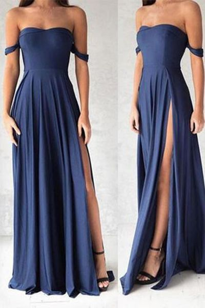 prom dresses,2017 prom dresses fashion navy blue off the shoulder prom dress,sexy slit evening dress