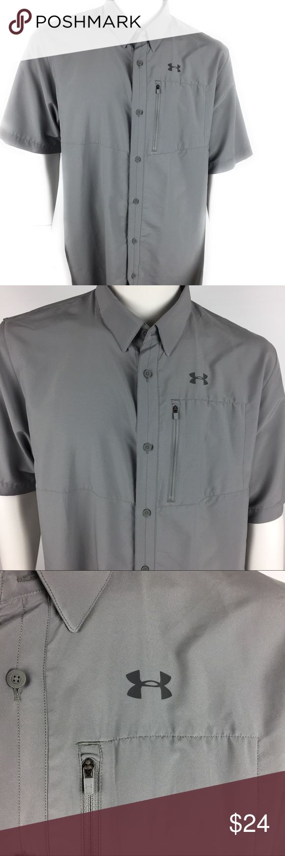 Under Armour Vented Shirt Men's Under Armour Offshore Fishing Shirt Heatgear 1235477 Gray Vented Size XL   Measurements (in inches) are as follows:  Armpit to armpit: 24.5 Loose fit Left breast pocket w/ zipper Button Front HeatGear Bin: MC8 Under Armour Shirts Casual Button Down Shirts