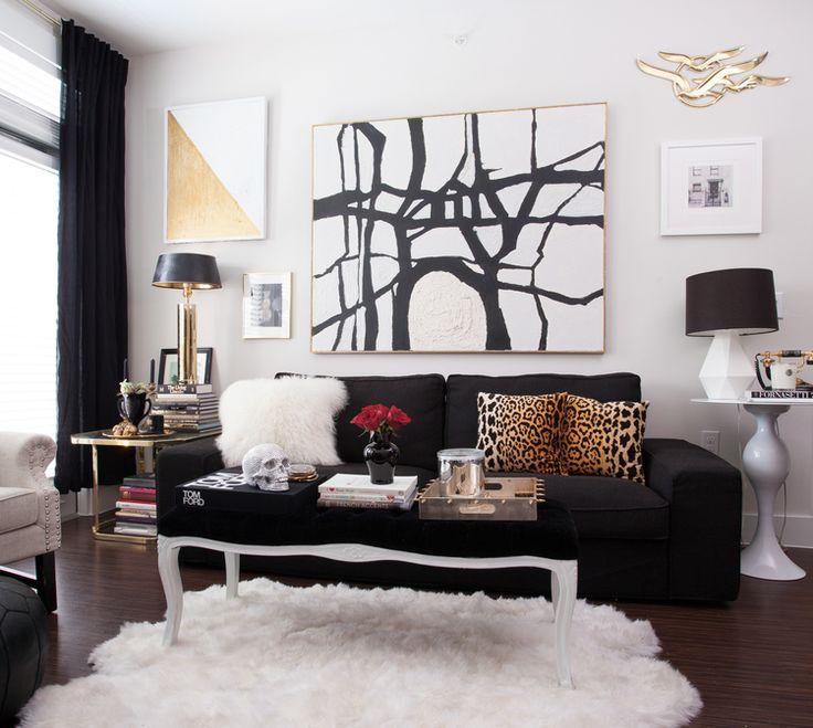 Black white amp gold living room