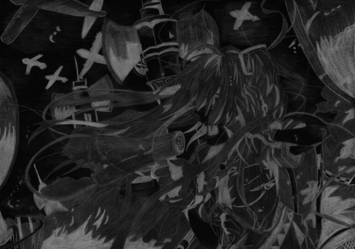 The drawing of #hatsune miku, Love is war in black and white   #vocaloid