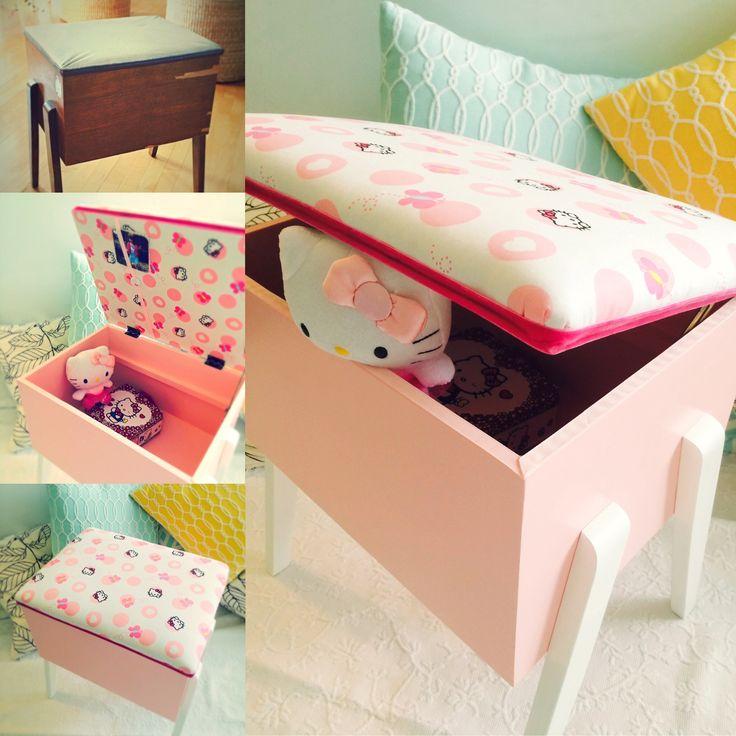 Banc coffre de couture acheté usagé. Remis en état pour en faire un petit banc coffre à jouets pour une petit fille qui adore Hello Kitty... et le ROSE.