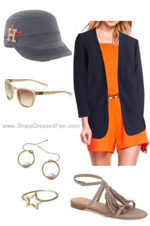 Cute summer outfit for an Astros game with local accessories!