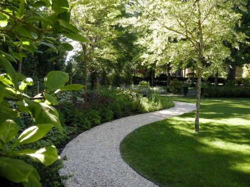 Winding pea gravel path. For backyard when we convert parking to grass.