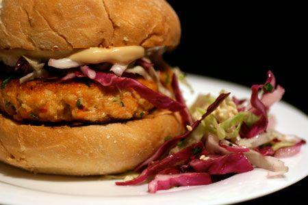 salmon burgers with sesame slaw nice alternative to the beef burgers ...