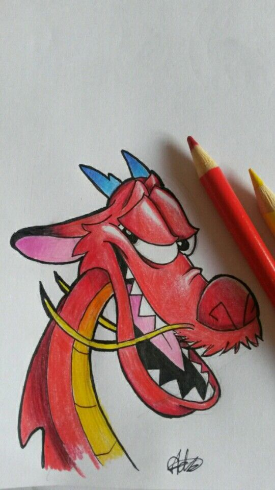 Mushu drawing #disney #disneydrawing #mushu #mulan #disneycharacter #drawing #pe