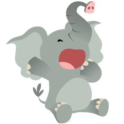 Cute Sleepy Cartoon Elephant  PhotoSculpture Cut Out