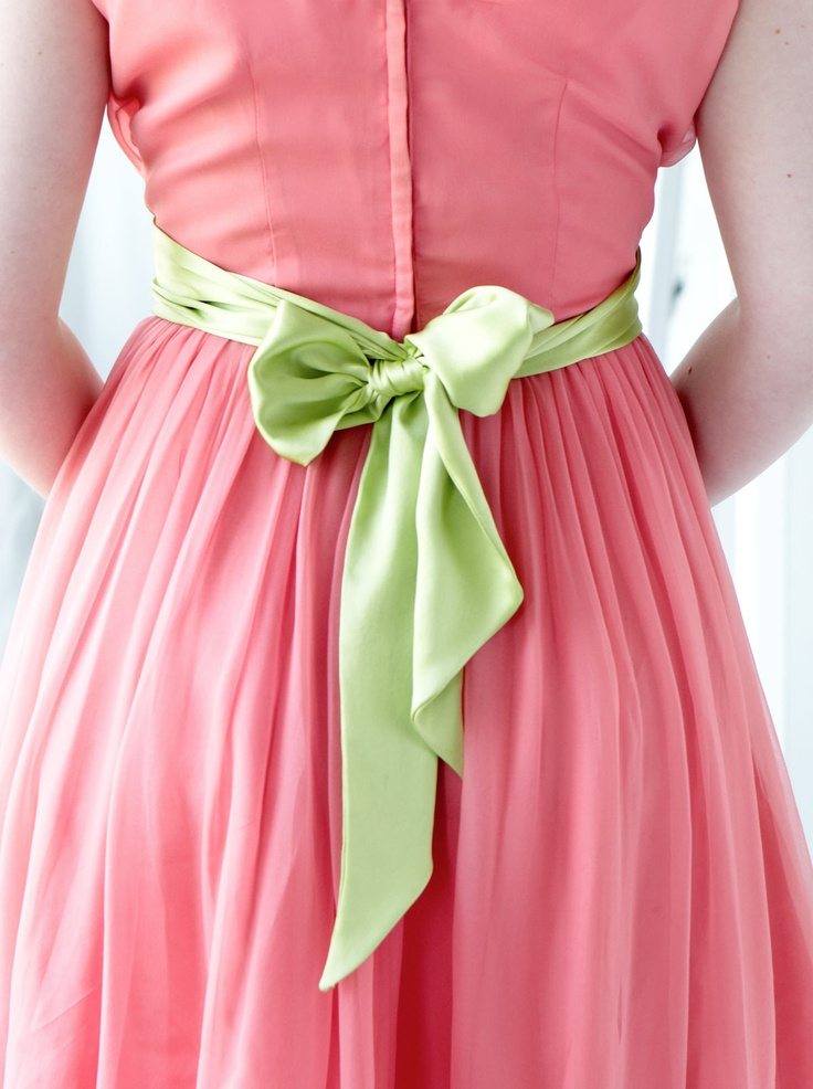 Coral silk chiffon and a ribbon: Color Pod, Colour, Cozy Pink Green, Green Sash, Pea Cottage Photo