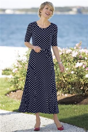Wrinkle-free-Knit-Polka-Dot-Dress