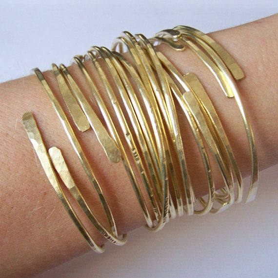 Stacking Bangles - Open End Bangle Bracelets - SET of FIVE - All Hammered Smooth Notched Dimpled or CUSTOM Set - Copper Brass Silver Bronze