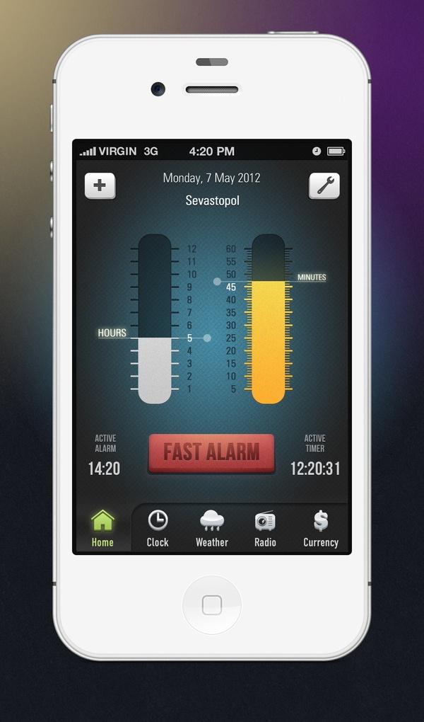 Alarm Clock Skin iOS by Igor Igolnikov, via Behance