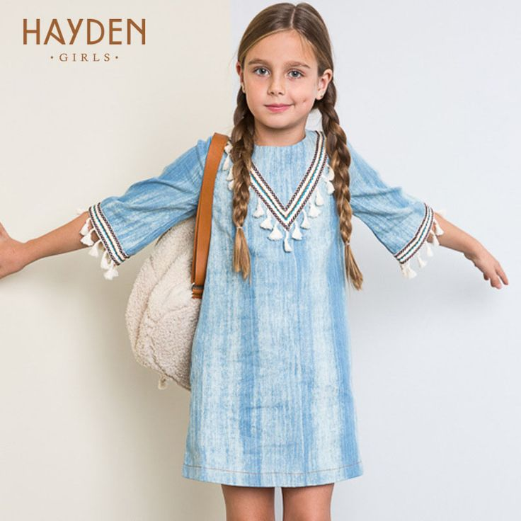 HAYDEN Bohemia girls dresses age 13Y denim vintage costume summer sundress teenage girls clothes 8 9 10 12 years party clothing