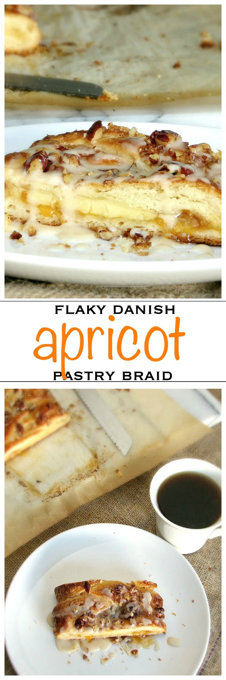 Homemade flaky danish pastry braid filled with custard and apricot | Foodness Gracious